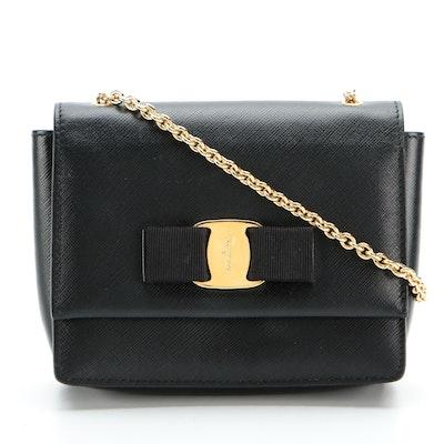 Salvatore Ferragamo Ginny Vara Bow Mini Crossbody Bag in Black Saffiano Leather