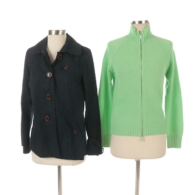 J.Crew Cotton Twill Button-Front Jacket and Agnona Zip-Up Cashmere Sweater