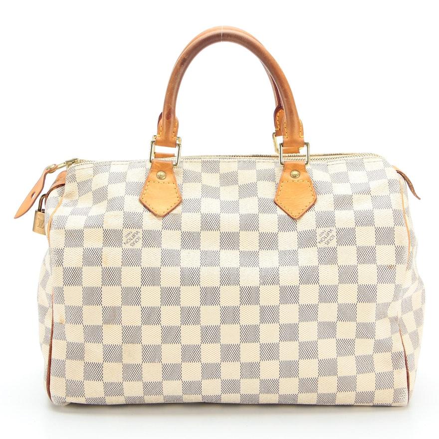 Louis Vuitton Speedy 30 in Damier Azur Canvas and Vachetta Leather