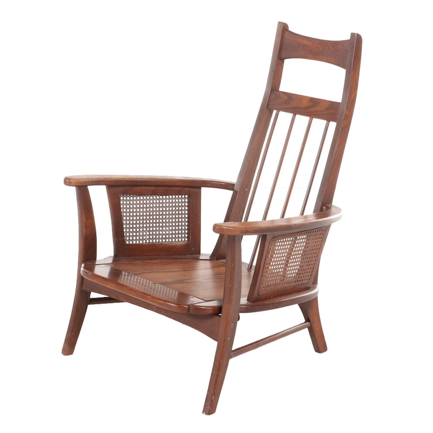 Modernist Oak and Caned Lounge Chair, Mid to Late 20th Century