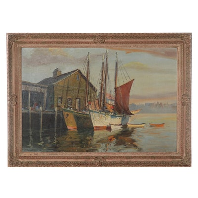 Cappy Hjalmar Amundsen Oil Painting of Harbor, Mid-20th Century