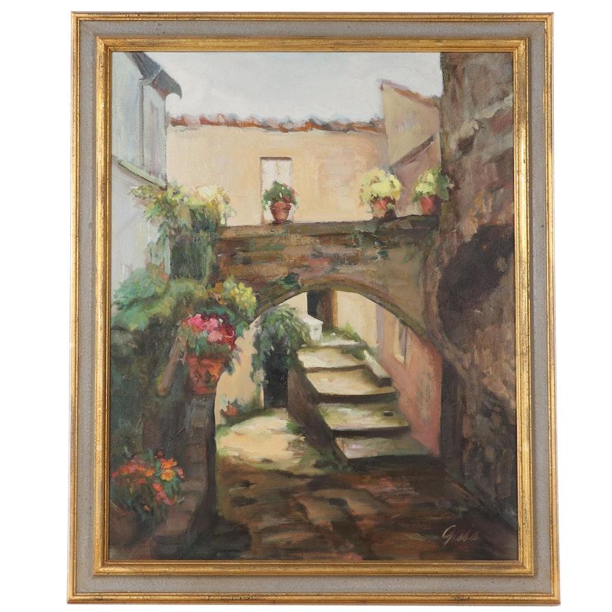 Oil Painting of Street Scene, Circa 2000