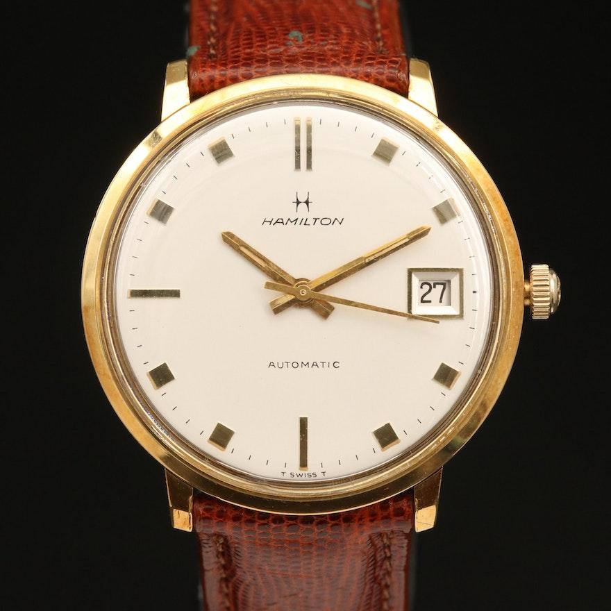 Vintage Hamilton Dateline 18K Yellow Gold Automatic Wristwatch
