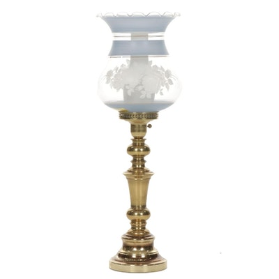 Brass Table Lamp with Hand-Painted Blown Glass Hurricane Shade