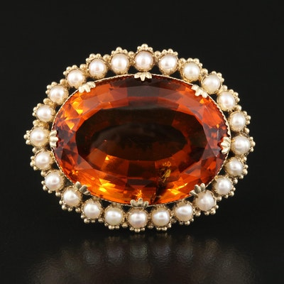 Vintage 14K 54.30 CT Madeira Citrine and Pearl Oval Brooch