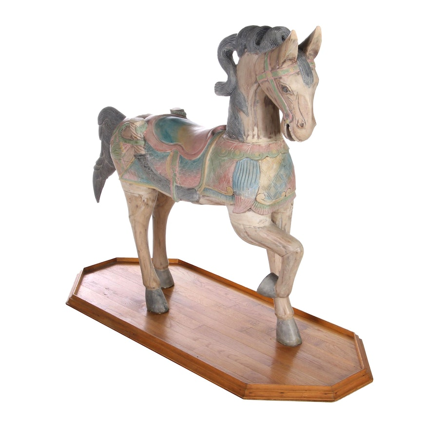 Hand-Painted Wooden Carousel Horse Sculpture, Early-Mid-20th Century