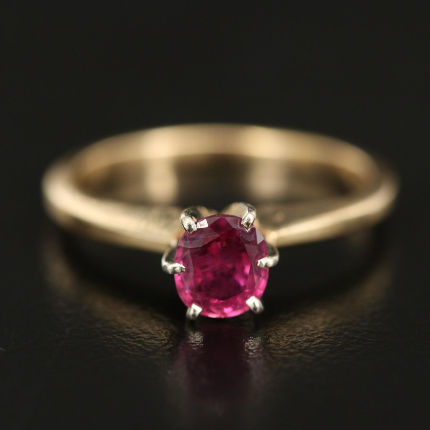 14K Ruby Solitaire Ring