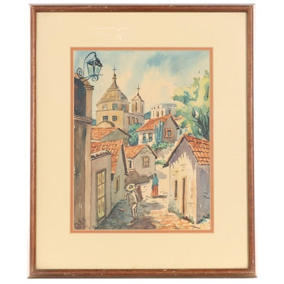 Central American Village Scene Watercolor Painting