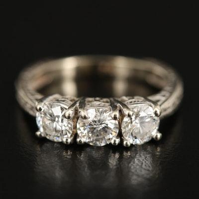14K 1.02 CTW Diamond Three Stone Ring with Euro Shank