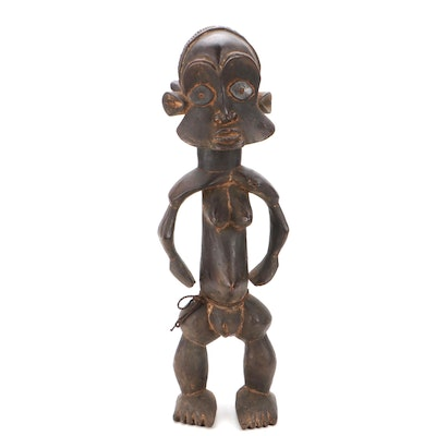 West African Style Hand-Carved Wood Sculpture of Standing Figure