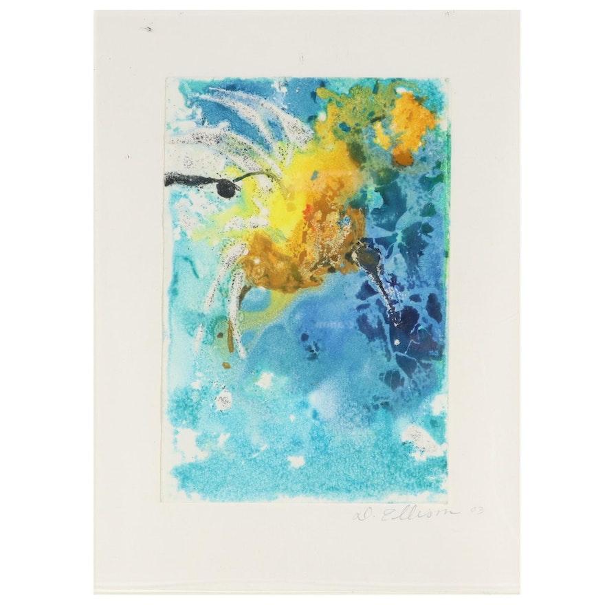 Debbra Ellison Abstract Mixed Media Painting, 2003