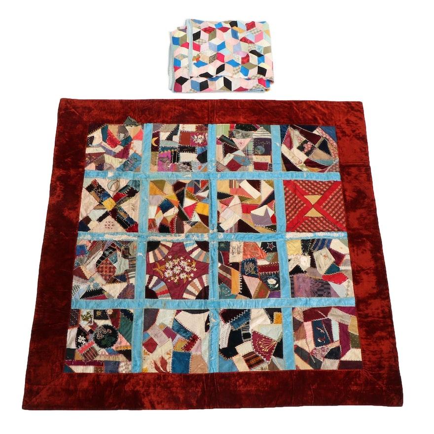 "Victorian Album Crazy Quilt and ""Hexagonal Star"" Pieced Quilt, Late 19th Century"