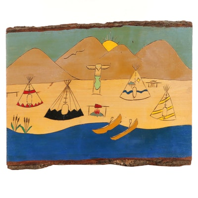 Hand-Painted and Carved Panel of Native American Encampment Scene