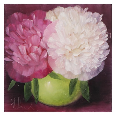 """Thu-Thuy Tran Oil Painting """"Spring Peonies,"""" 2021"""