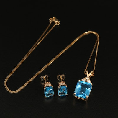 14K 8.39 CT Swiss Blue Topaz and Diamond Necklace and Earrings
