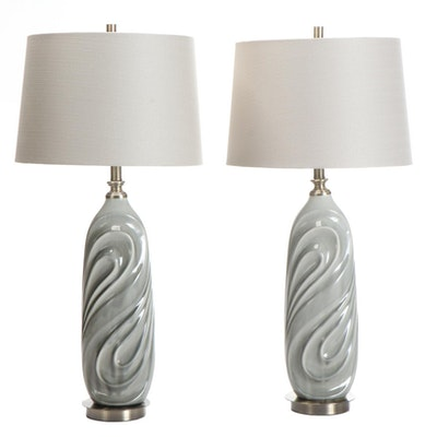 Pair of Gray Textured Ceramic Table Lamps with Shade
