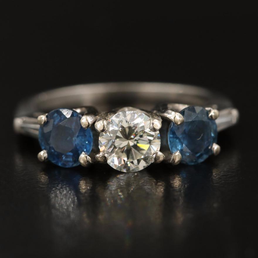 14K and Platinum Diamond and Sapphire Three Stone Ring
