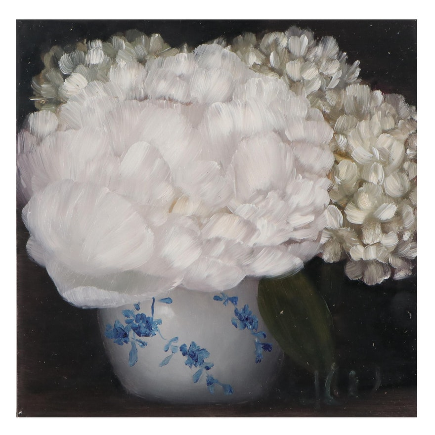 """Thu-Thuy Tran Oil Painting """"Summer White Peony"""""""