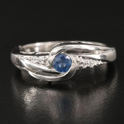 Sterling Sapphire and Zircon Swirl Ring