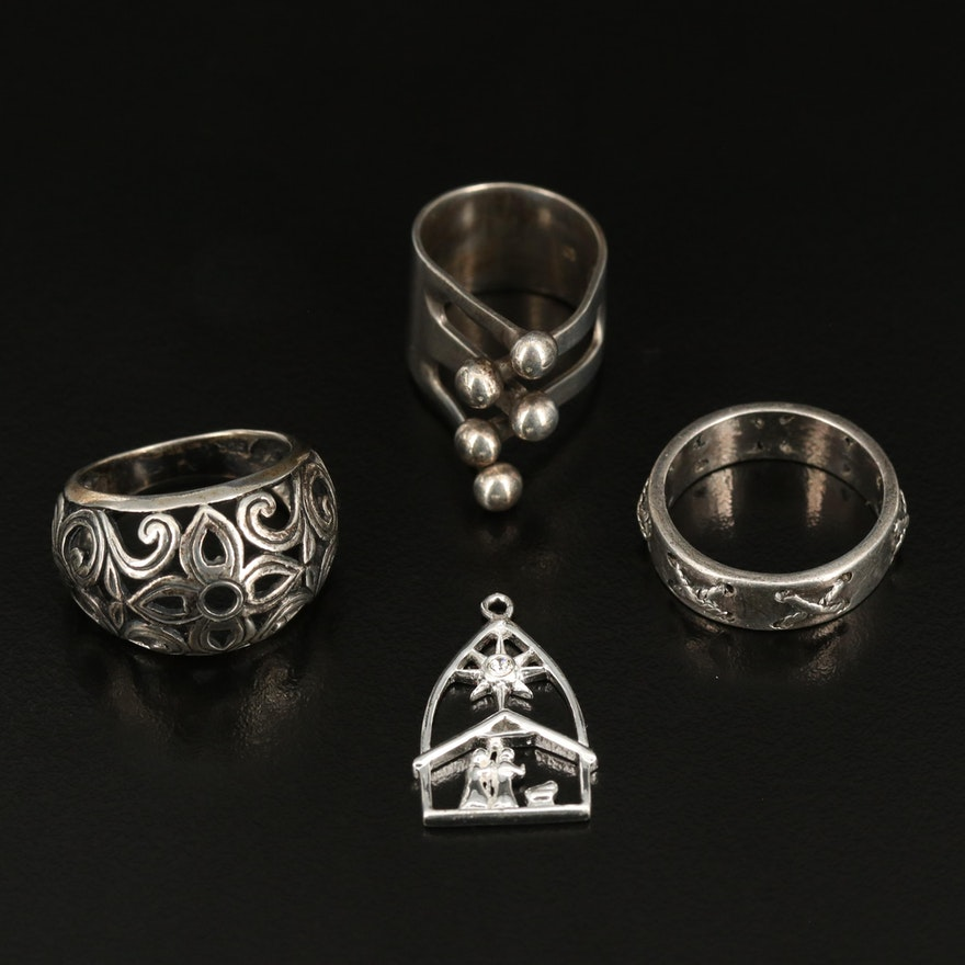 Sterling Rings and Rhinestone Star of Bethlehem Pendant