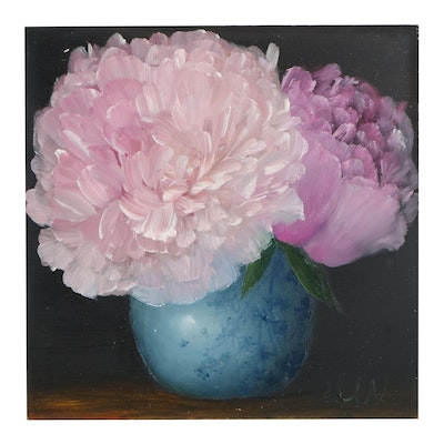 """Thu-Thuy Tran Oil Painting """"Peonies for Spring"""""""