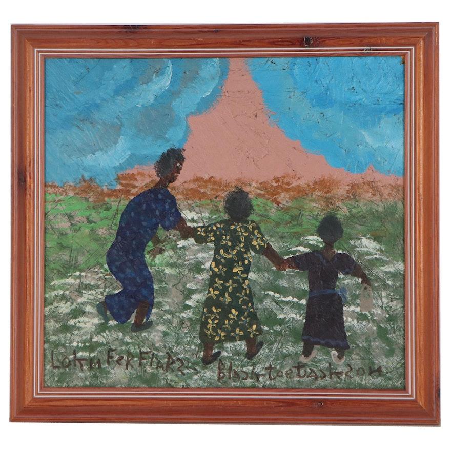 "Black Joe Jackson Folk Art Acrylic Painting ""Lokn Fer Flars"""