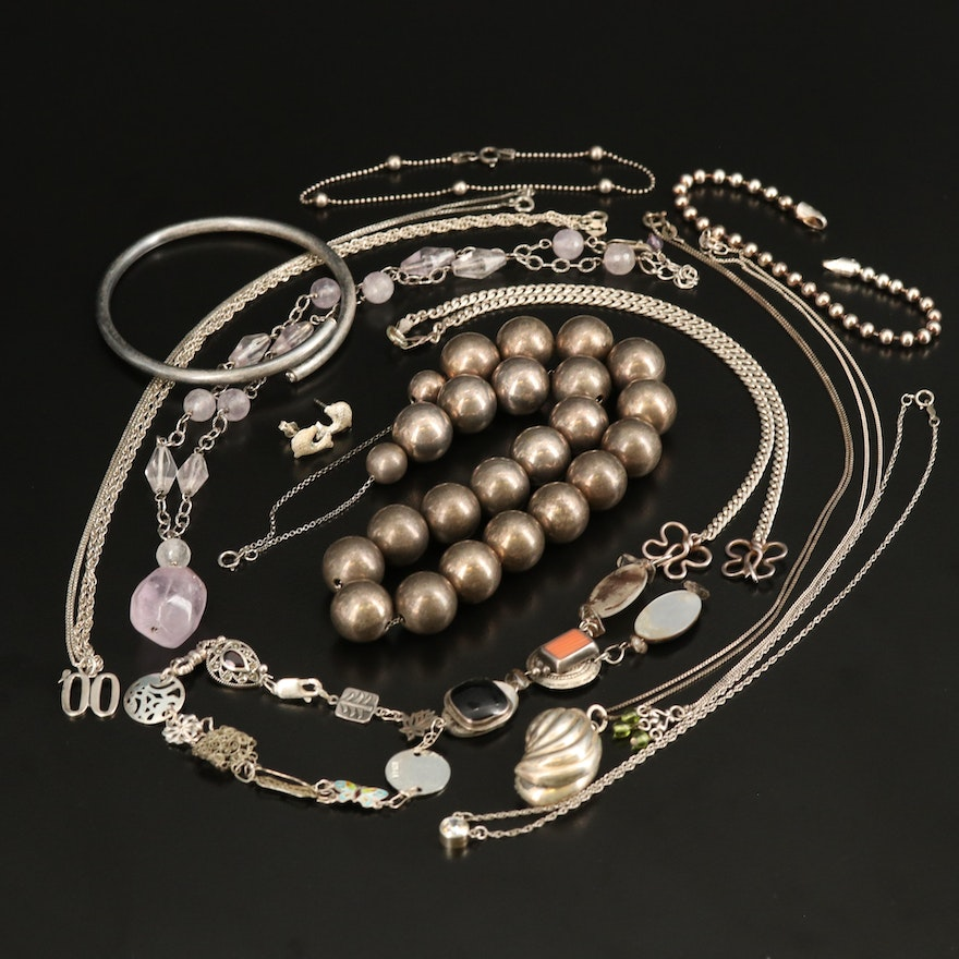 Sterling Jewelry Including Shell, Amethyst and Garnet