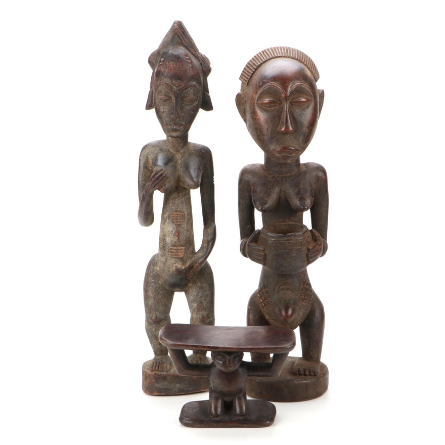 Baule and Luba Style Figures and Luba Style Headrest