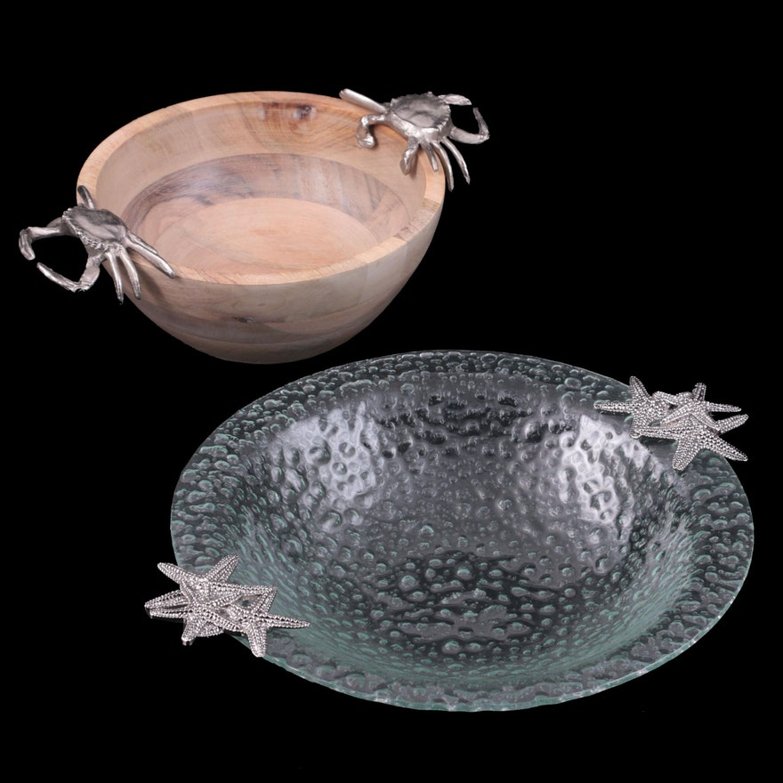 Metal Starfish Handled Bubbled Glass and Acacia Wood Bowls with Crab Handles