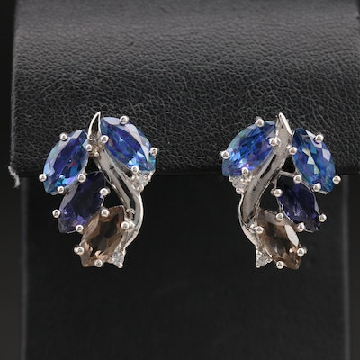 Sterling Wave Earrings with Mystic Topaz, Smoky Quartz and Zircon