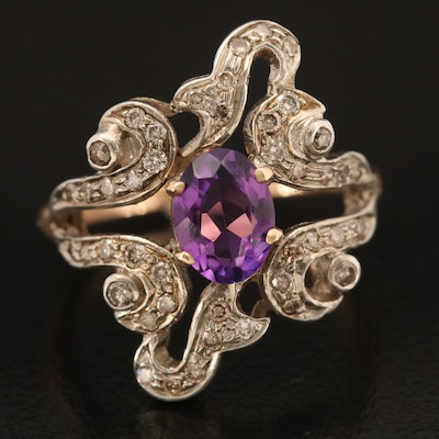 Sterling Amethyst and Brown Diamond Scrollwork Ring with 14K Shank