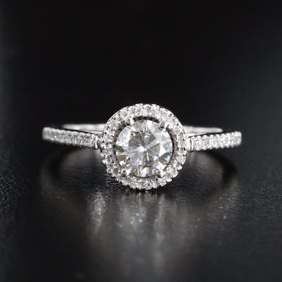 14K Diamond Halo Cathedral Ring