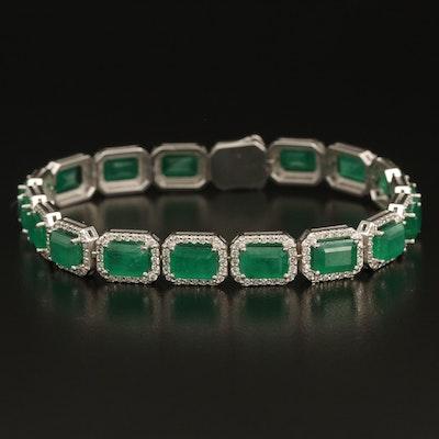 14K 17.55 CTW Emerald and 3.07 CTW Diamond Bracelet