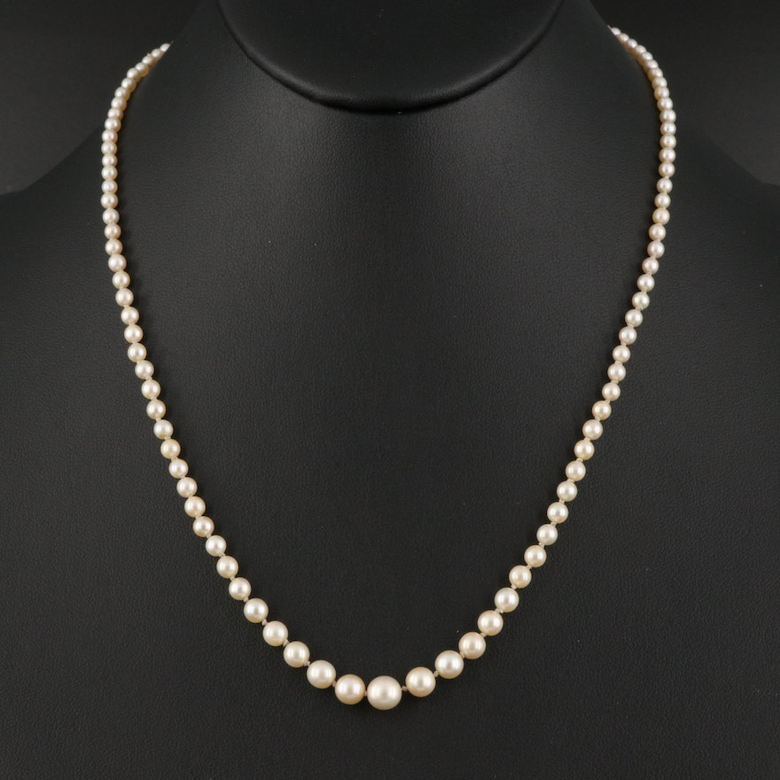 Antique French Graduated Pearl Necklace with 18K Diamond Clasp