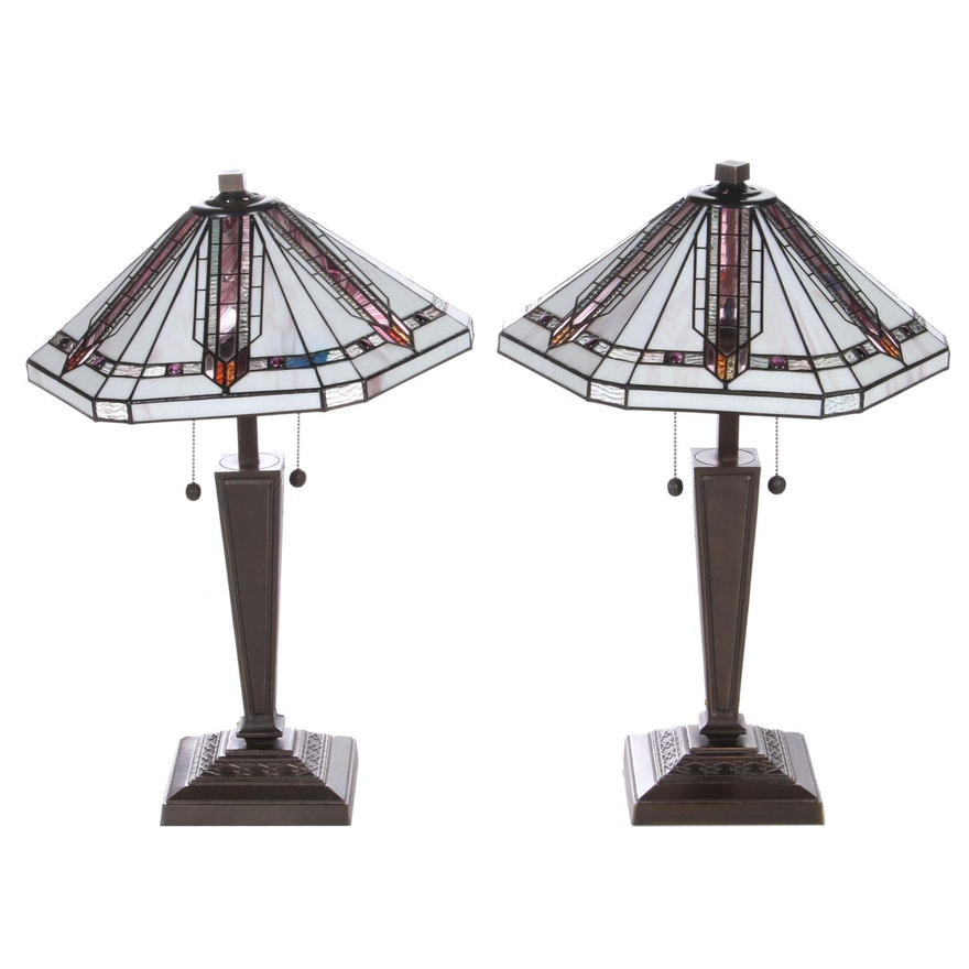 Pair of Arts and Crafts Style Bronzed Metal and Slag Glass Table Lamps
