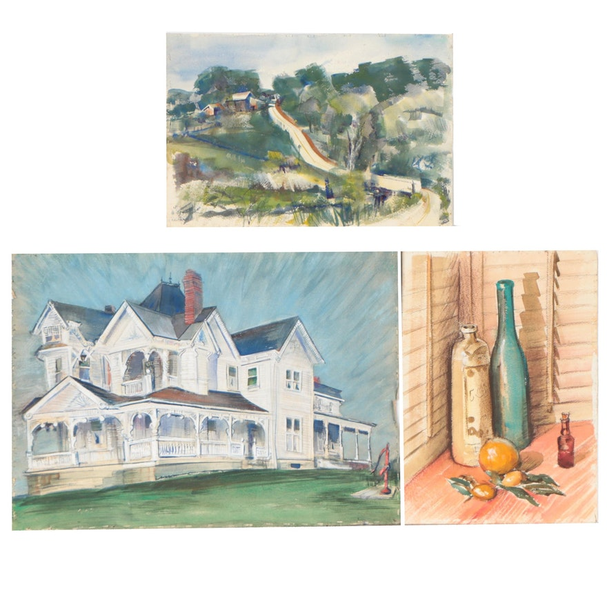 John Imhoff Double-Sided Watercolor Paintings of Still Lifes and Houses