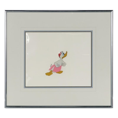 Disney Hand-Painted Animation Cel of Donald Duck, 1950s