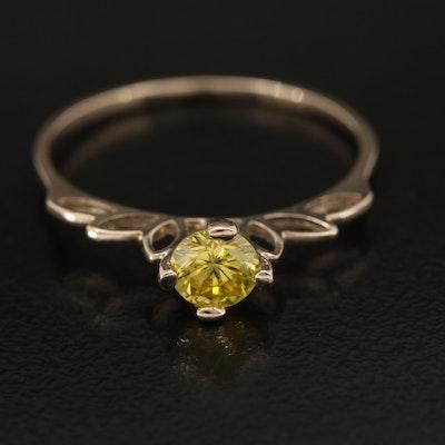 14K 0.40 CT Yellow Diamond Solitaire Ring