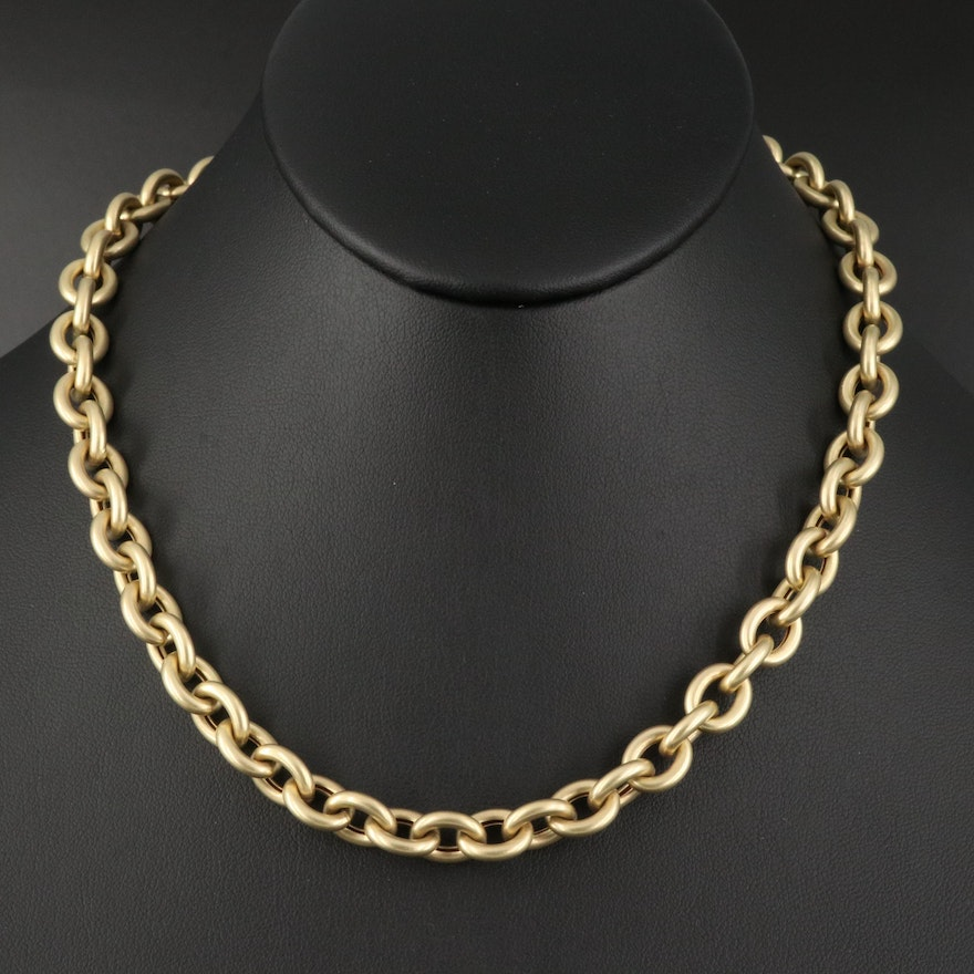 14K Cable Chain Necklace with Satin Finish and Black Onyx Accents