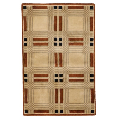3'10 x 5'11 Hand-Knotted Indian Modern Style Area Rug