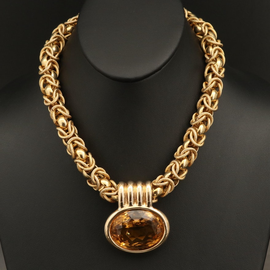 Linda Joslin 14K 104.80 CT Citrine Pendant on Byzantine Chain