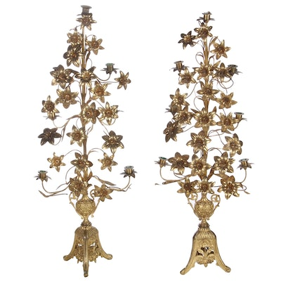 Pair of Gilt Tole Seven-Light Candelabras, Possibly Italian, 20th Century