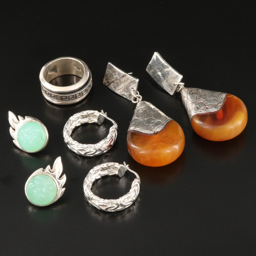 Sterling Silver Hoop, Drop and Button Earrings with Spinner Ring