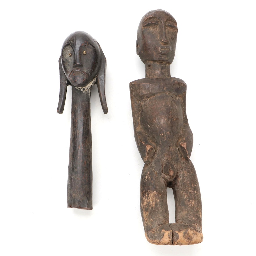 Fang Style Guardian Head and Other Central African Figure