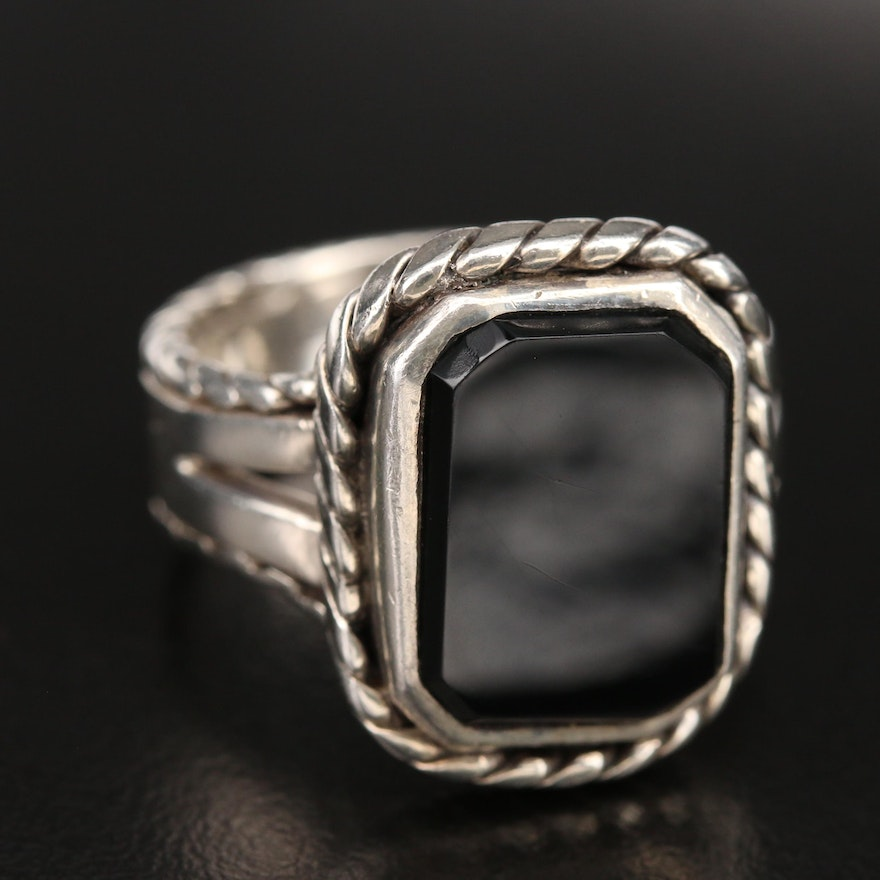 Sterling Black Onyx Ring with Braided Trim