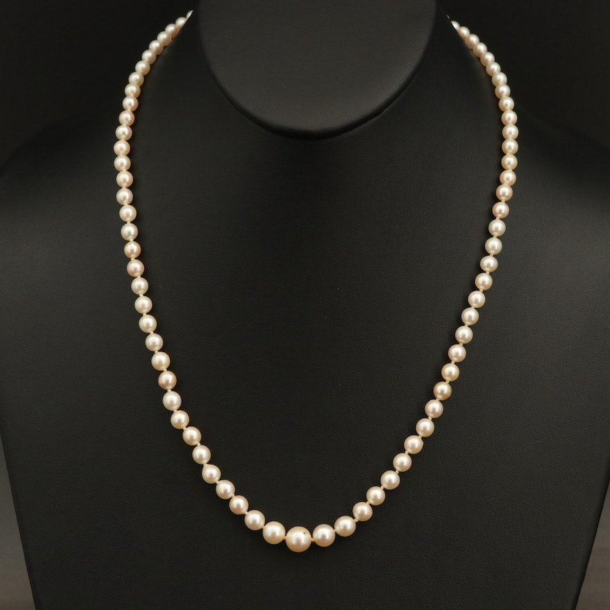 Vintage Graduated Pearl Necklace with 14K and 10K Diamond Clasp