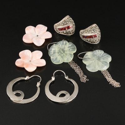 Sterling Earrings Featuring Judith Jack Tapered J Hoop Earrings