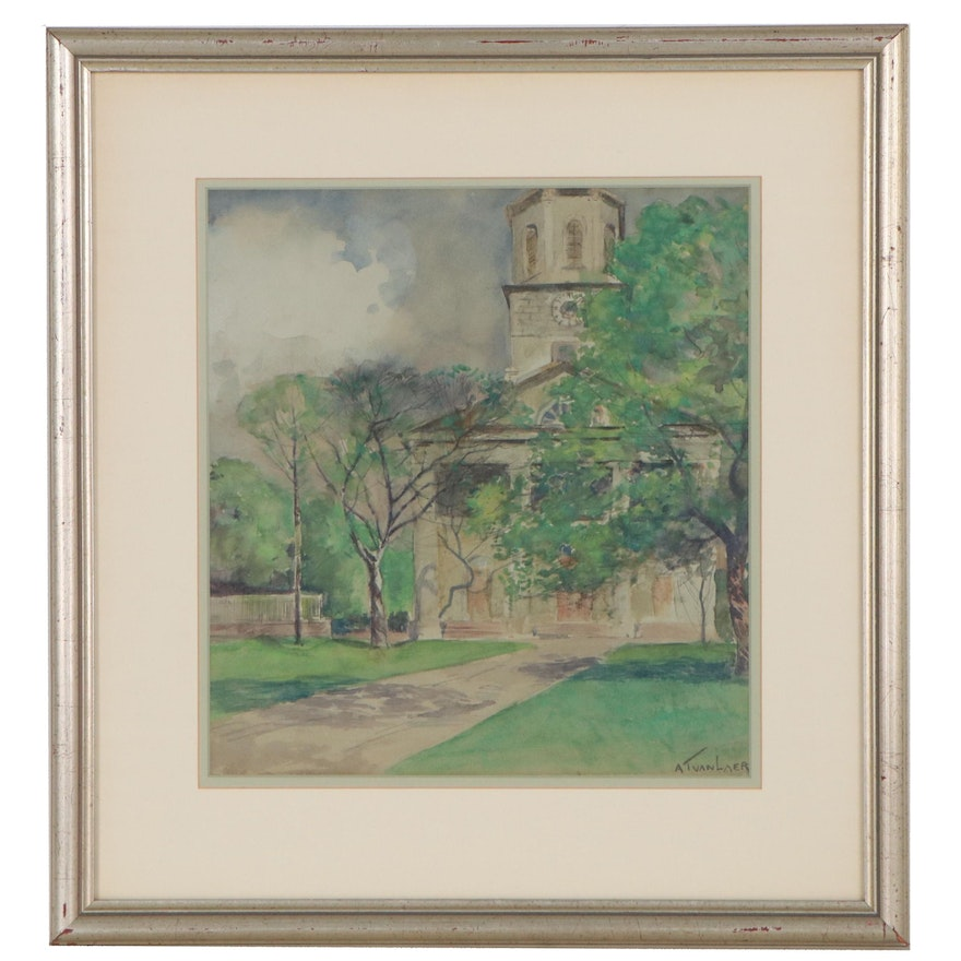 Alexander Theo Van Lear Watercolor Painting, Early 20th Century