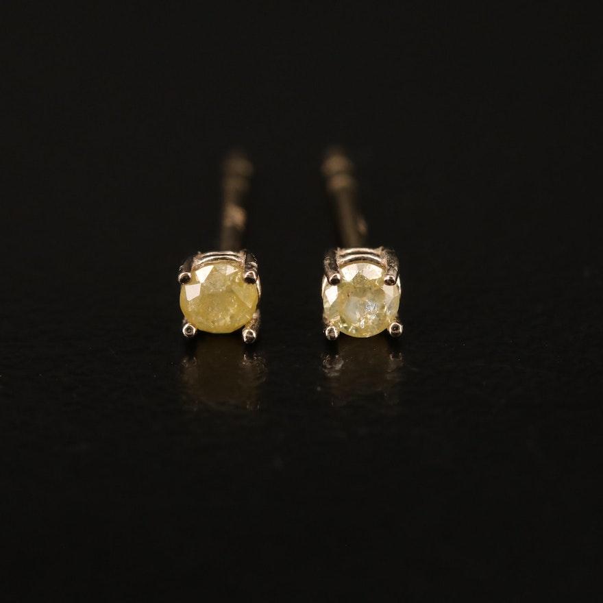 14K 0.13 CTW Yellow Diamond Stud Earrings