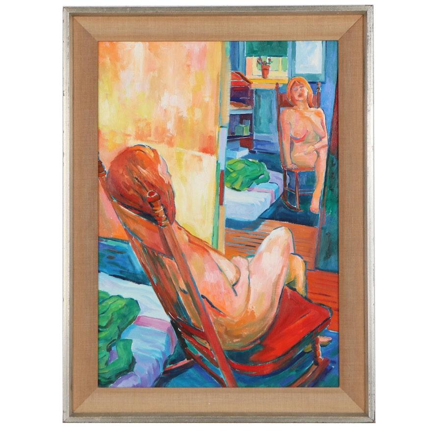 "Bennard Bloch Perlman Oil Painting ""Reflections,"" 21st Century"